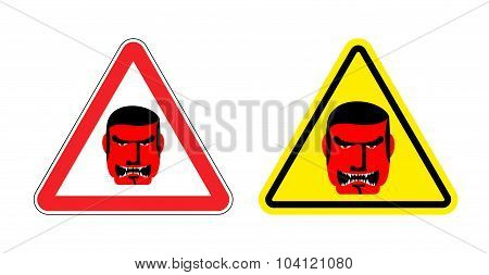 Warning Sign Of Attention An Evil Boss. Danger Sign Yellow Head. Head Villain On Red Triangle. Set R