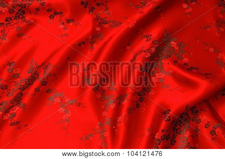 Chinese Calligraphy silk.Chinese style. red silk background.