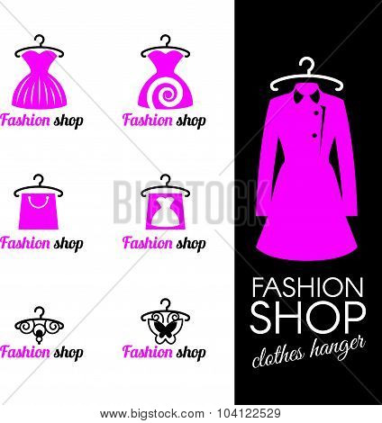 Fashion shop logo - Clothes hanger and dress shopping bag and butterfly