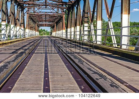 Old Railway Bridge, Made Of Wood And Steel.