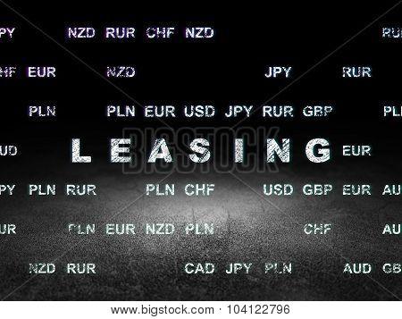 Finance concept: Leasing in grunge dark room