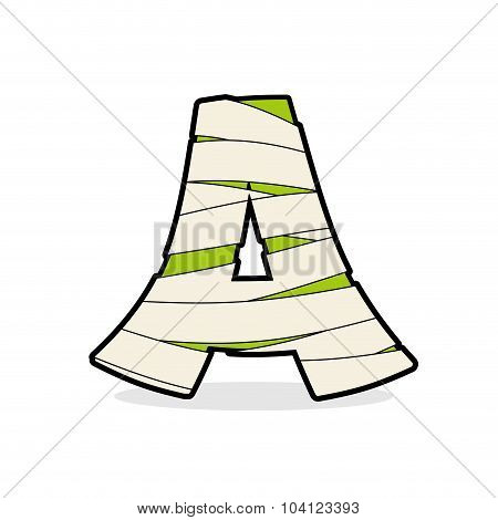 Letter A Mummy. Typography Icon In Bandages. Egyptian Zombie Template Elements Alphabet. Abc Concept