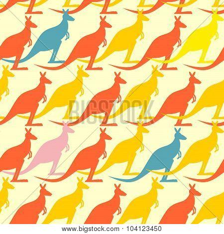 Kangaroo Seamless Pattern. Colored Animals Background.  Australian Marsupial Mammal Animal.  Many An