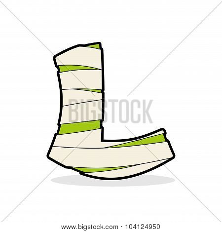 Letter L Egyptian Zombies. Mummy Abc Icon Coiled Medical Bandages. Monster Template Elements Alphabe