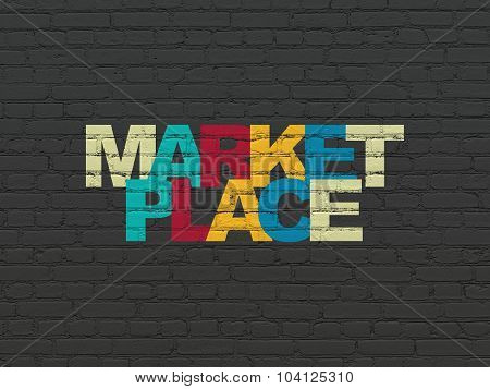 Marketing concept: Marketplace on wall background
