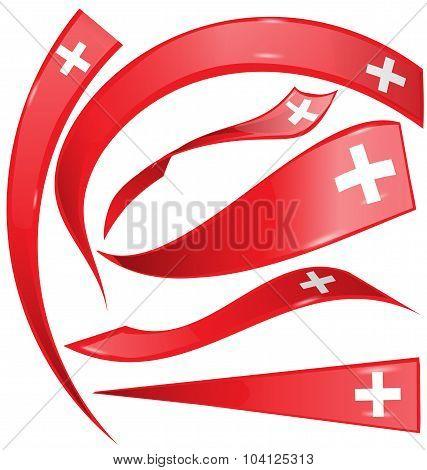 Swiss Flag Set On White Background