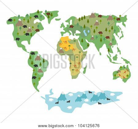 Map Of  World With Animals And Trees. Geographic Map Of  Globe With Flora And Fauna. Conditional Car
