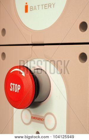E-stop button of an industrial battery operated device