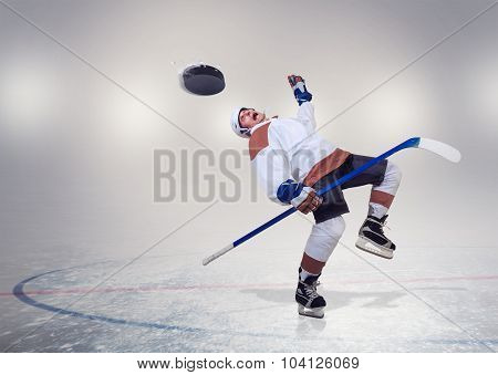Hockey Player Fall Dawn On Ice