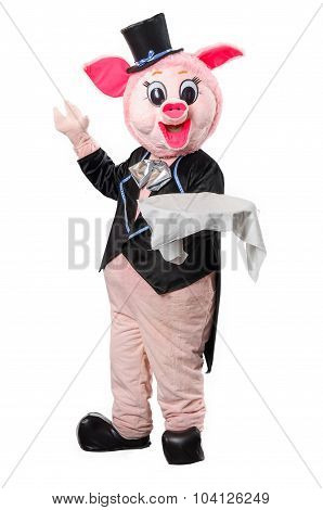Man Dressed As A Pig With A Tray
