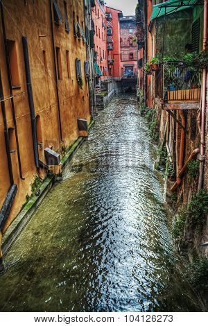 Small Canal In Bologna Downtown