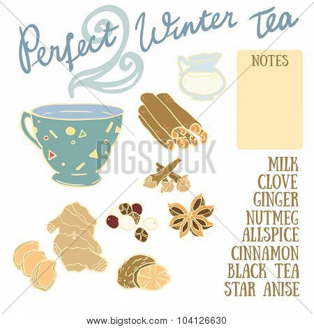 Perfect Winter Tea Recipe with cinnamon, clove, ginger, milk, allspice, nutmeg and anise.