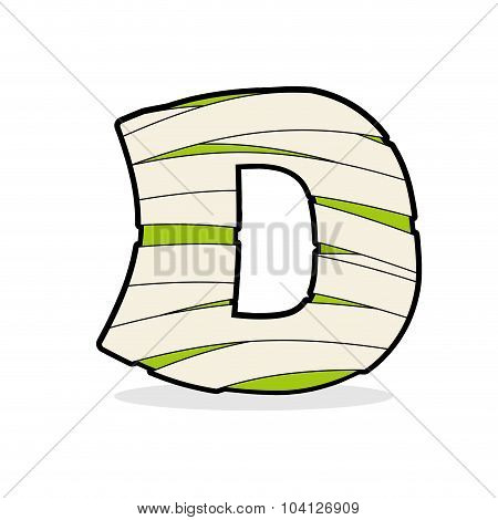 Letter D Mummy. Typography Icon In Bandages. Egyptian Zombie Template Elements Alphabet. Abc Concept