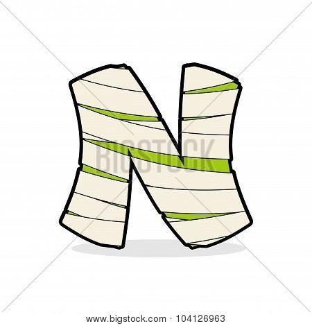 Letter N Monster Zombie. Alphabetical Icon Medical Bandages. Egyptian Concept Of Template Elements A