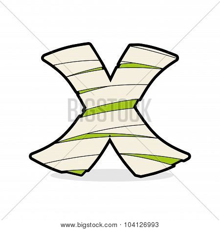Letter X Monster Zombie. Alphabetical Icon Medical Bandages. Egyptian Concept Of Template Elements A