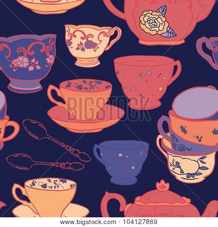 Vector seamless pattern with teapots, teacups, spoon. Retro tea background in vivid colors.