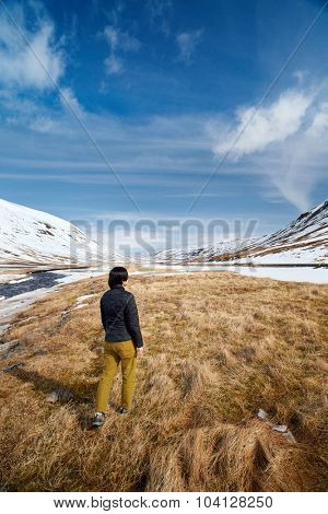 Outdoor leisure activity in winter landscape vacation adventure