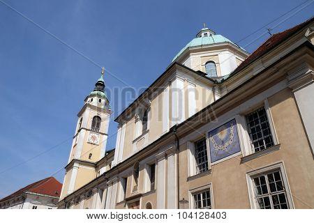 LJUBLJANA, SLOVENIA - JUNE 30: Cathedral of St Nicholas in the capital city of Ljubljana, Slovenia on June 30, 2015