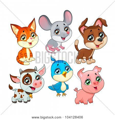 Cute farm animals. Vector cartoon isolated characters.