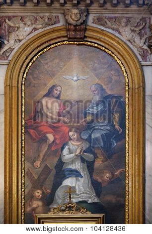 LJUBLJANA, SLOVENIA - JUNE 30: Coronation of the Virgin Mary altarpiece in the Cathedral of St Nicholas in the capital city of Ljubljana, Slovenia on June 30, 2015