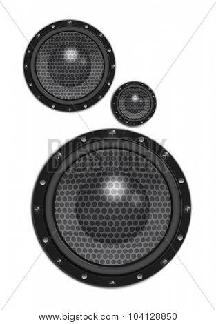 Three speakers on white background