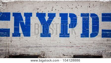 New York Police Department concrete barrier