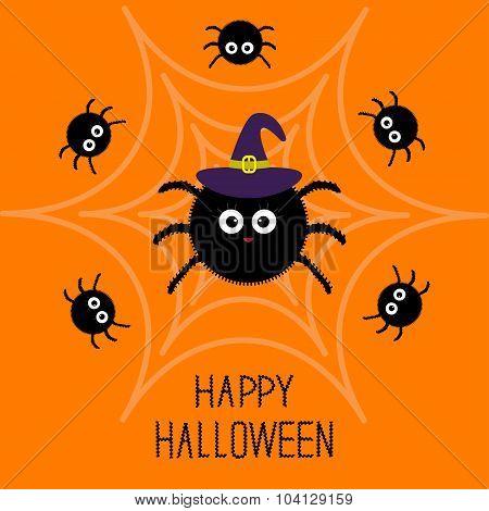Cute Cartoon Fluffy Spider Set On The Web. Witch Hat. Halloween Card. Flat Design.