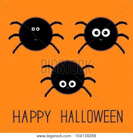 Cute Fluffy Spider Set. Happy Halloween Card. Flat Design