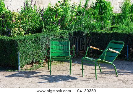 Tuileries Garden And Two Green Garden Chairs, Paris, France