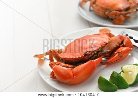steamed mud crab, male and female