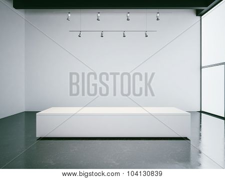 White gallery interior with empty walls, panoramic windows and black ceiling. 3d render