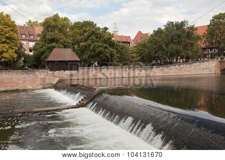 NUREMBERG, GERMANY - SEPTEMBER 04, 2015: Photo of Wine Warehouse, Water Tower and the Bridge.