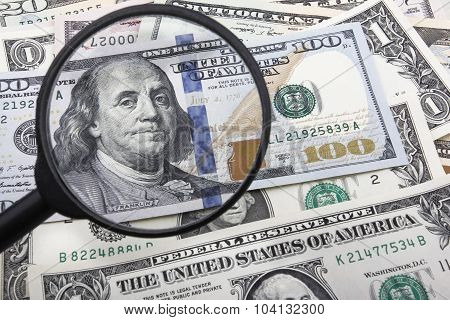 A Close Look at a 100 US Dollar Banknote.