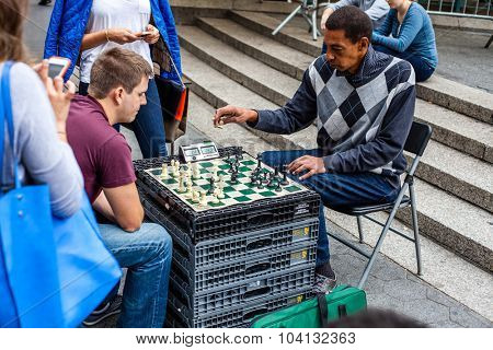 NEW YORK CITY, USA - CIRCA SEPTEMBER 2014: Chess player at Union Square in New York City