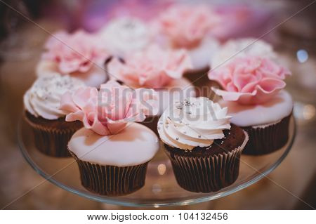 Colorful Sweet Cupcakes On Plate .