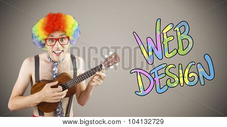 Geeky hipster in afro rainbow wig playing guitar against grey background with vignette