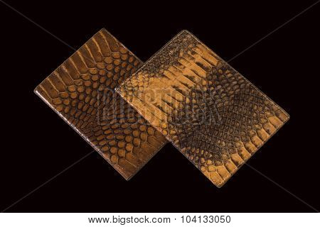Two Passport Cover From Snake Skin On A Black Background