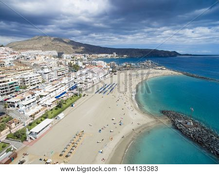Beautiful Aerial Shot Over Los Cristianos Beach (playa De Las America), Canary Island Tenerife, Spai
