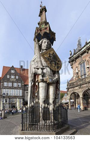 Bremen, Germany - October 5th, 2015: Medieval statue of Knight Roland in front of the town hall at Bremen