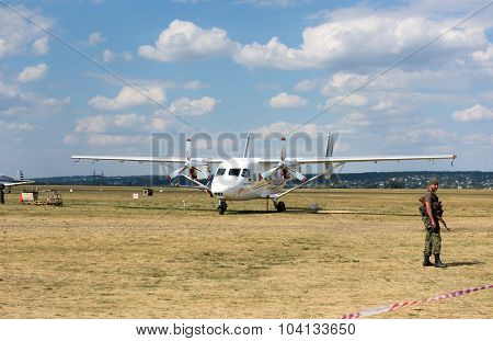 Kharkiv, Ukraine - August 24, 2015: plane on airfield Korotych at Kharkiv airshow