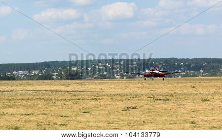 Kharkiv, Ukraine - August 24, 2015: plane starting flight on Korotych airfield at Kharkiv airshow