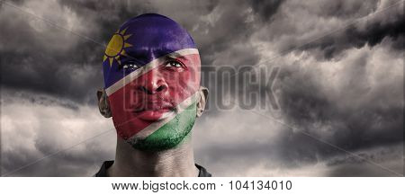 Namibia rugby player against blue sky