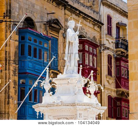 Valletta, Malta - 25 May 2015: Statue Of St. Lawrence On Misrah Ir-Rebha of Birgu in Malta