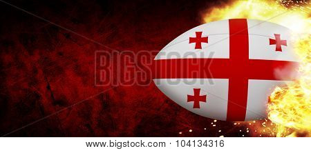 georgia rugby ball against dark background