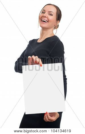Woman With Blank White Paper Sheet