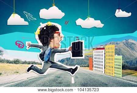 Collage image of funny running businessman with suitcase in hands