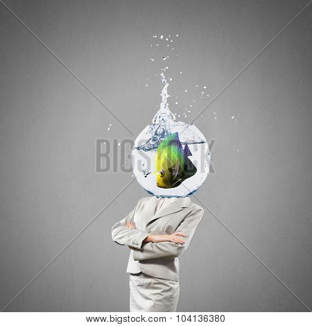 Woman with water bowl with fish instead of head