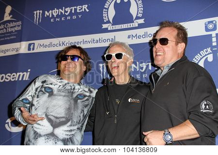 MOORPARK, CA - OCT 5: Jack Black, Robbie Krieger & Scotty Medlock arrive at the 8th Annual Medlock/Krieger Invitational Golf Concert at the Moorpark Country Club in Moorepark, CA on October 5, 2015.