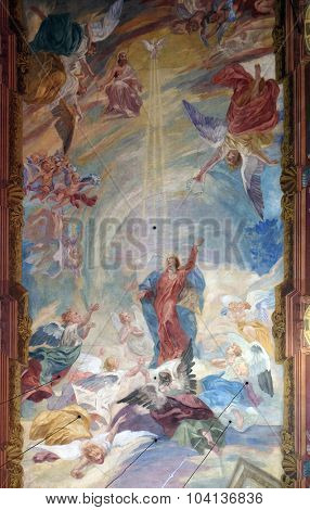LJUBLJANA, SLOVENIA - JUNE 30: The fresco on the ceiling of the Franciscan Church of the Annunciation on Preseren Square in Ljubljana, Slovenia on June 30, 2015