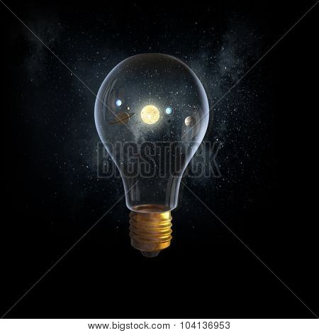 Planets of sun system inside of glass light bulb. Elements of this image are furnished by NASA